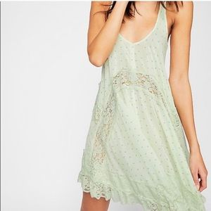 Free People She Swings Slip Dress Mint Green